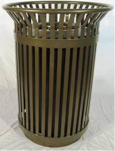 The Colonial 36-Gallon Steel Slat Trash Receptacle from OCC Outdoors.