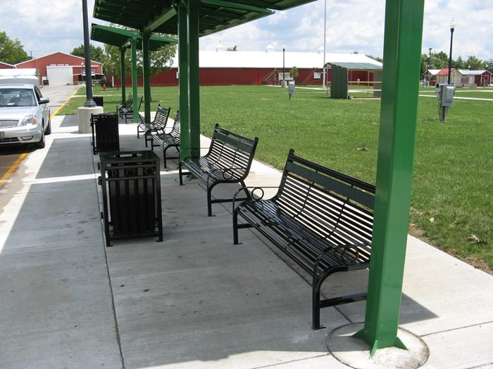 OCC Outdoors park benches & trash receptacles installed at the Indiana State Fair