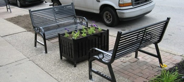 OCCOutdoors benches, planters and trash receptacles on the street and along the Ohio river in Madison Indiana