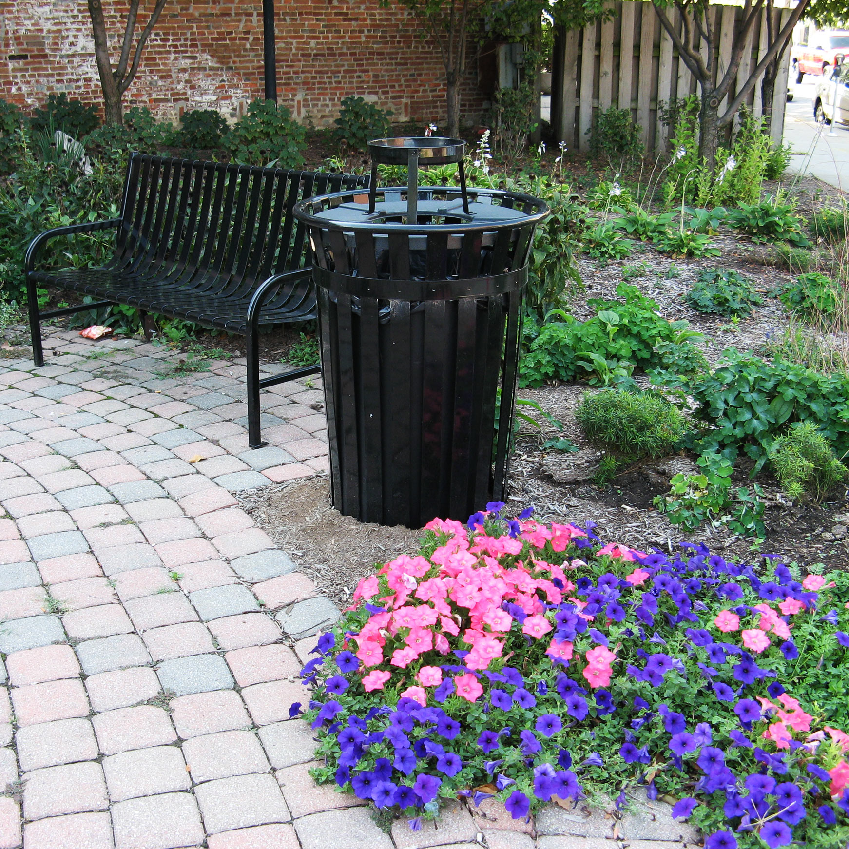 Coordinated Bench and Waste Bin Combo from OCC Outdoors