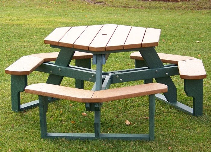 Round, Square and Hexagon Picnic Tables