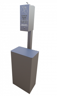 Small Post Mounted Hand Sanitizer Receptacle with Trash Receptacle