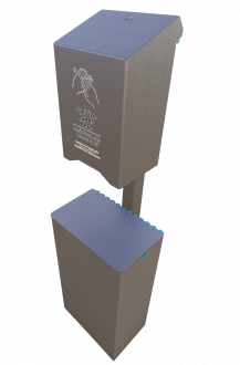 In-Ground Post Mount Large Hand Sanitizer Station and Receptacle