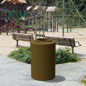 """55 Gallon Round Plastic Receptacle with Recycle Lid with 10"""" Hole & Liner"""