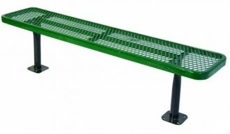 """Deluxe 6 Foot Heavy Duty Backless Park Bench Thermoplastic Coated with 15"""" Seat Plank"""