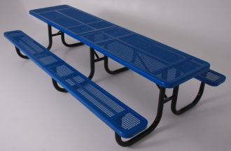 10' Thermoplastic Coated Picnic Table with  Walk Through Design and Perforated Pattern Top and Seats