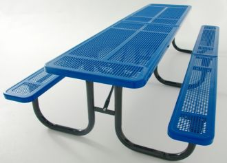 12' Thermoplastic Coated Picnic Table with  Walk Through Design and Perforated Pattern Top and Seats