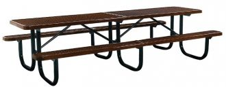 12' Thermoplastic Coated Picnic Table with  Walk Through Design and Diamond Pattern Top and Seats