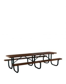 10' Thermoplastic Coated Picnic Table with  Walk Through Design and Diamond Pattern Top and Seats