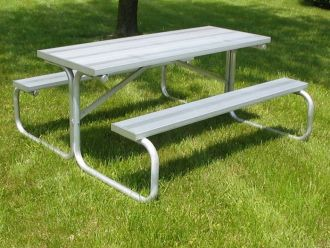 Extra Heavy Duty Picnic Table with Aluminum Top & Seats Walk Through Design