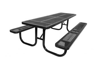 Picnic Table Extra Heavy Duty Steel Walk Through Design Thermoplastic Coated