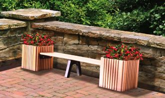 Square Planters and Bench Recycled Plastic