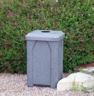 32-Gallon Square Trash receptacle with Flat Top with 4 Inch Opening
