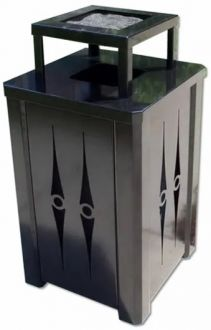 32 Gallon Steel Trash Receptacle With Ash Cover
