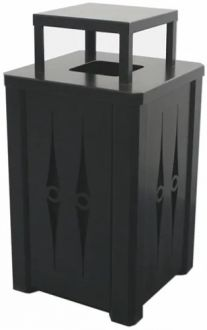 32 Gallon Steel Trash Receptacle With Rain Cover