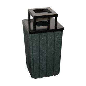 32-Gallon Square Molded Slat Trash Receptacle With Flat Metal Top with Ash Urn