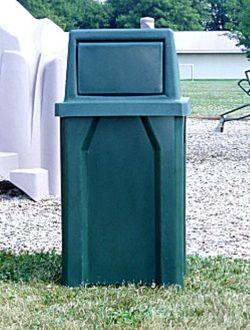 32-Gallon Square Trash receptacle with rain guard and door