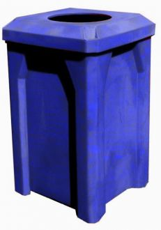 32-Gallon Square Trash receptacle with Flat Top with 10 Inch Opening