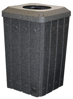 32-Gallon Square Molded Slat Trash Receptacle With Flat Top and 10 Inch Opening