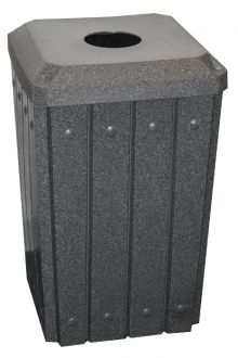 32-Gallon Square Molded Slat Trash Receptacle With Flat Top with 4 inch opening