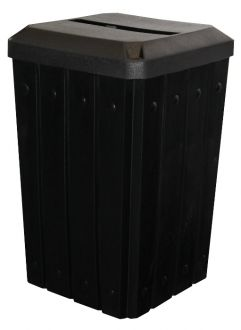 32-Gallon Square Molded Slat Trash Receptacle With Flat Top And Paper Slot Opening
