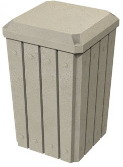 32-Gallon Square Molded Slat Trash Receptacle With Flat Top Dust Cover