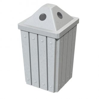 32-Gallon Square Molded Slat Trash Receptacle With Covered Top with Door