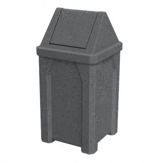 32-Gallon Square Trash Receptacle with Swing Top Lid