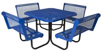 """46"""" Octagon Picnic Table  with  Walk Through Design with Thermoplastic Coated Steel Capri Seats and Top"""
