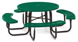 """46"""" Round Picnic Table  Walk Through Design with Thermoplastic Coated Steel"""