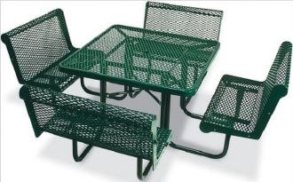 """46"""" Square Picnic Table  Walk Through Design with Thermoplastic Coated Steel Top and Capri Seats"""