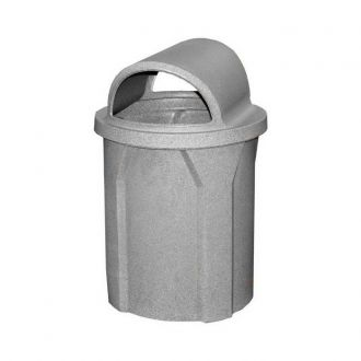 42 Gallon Round Plastic Trash Receptacle with Dual Opening