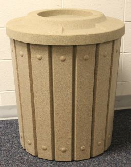 42-Gallon Molded Slat Trash Receptacle With 4 Inch Recycle Top