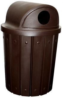42-Gallon Molded Slat Trash Receptacle With 2 Way Recycle Dome Top