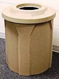 """42 Gallon Round Plastic Trash Receptacle with 10"""" recycle lid"""