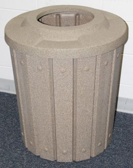 """42-Gallon Molded Slat Trash Receptacle With 10"""" Opening Top"""