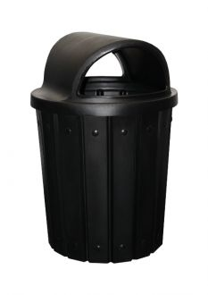 42-Gallon Molded Slat Trash Receptacle With 2 Way Dome Top