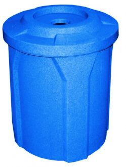 """42 Gallon Round Plastic Trash Receptacle with 4"""" recycle lid"""