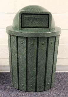 42-Gallon Molded Slat Trash Receptacle With Dome Top