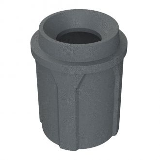 42 Gallon Round Plastic Trash Receptacle with Flat Lid Dust Cover Assembly
