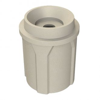 42 Gallon Round Plastic Trash Receptacle with Funnel Top with 5 inch hole