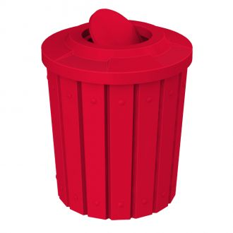 42-Gallon Molded Slat Trash Receptacle With Bug Barrier Top