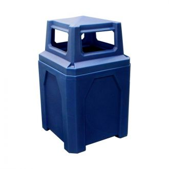 52-Gallon Square Trash Receptacle with 4-Way Lid & Liner