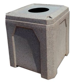 """52-Gallon Square Recycling Receptacle with Flat Lid with 10"""" Hole and Heavy Duty Liner"""