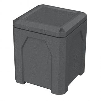 52-Gallon Square Trash Receptacle with Flat Lid Dust Cover Assembly