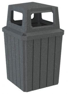 52-Gallon Square Slat Trash Receptacle with 4-Way Lid, Rain Guard  & Heavy Duty Liner