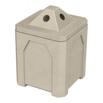 32-Gallon Square Trash Receptacle with Flat Lid Dust Cover and Liner
