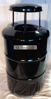 55-Gallon Drum Recycling Bin with Steel Top and Large Rain Guard