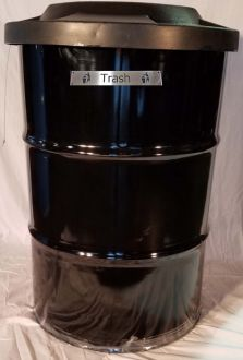 55-Gallon Drum Trash Receptacle with Many Lid Options