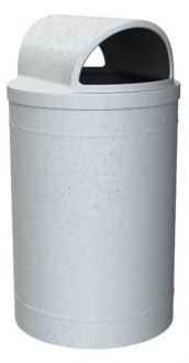 55 Gallon Round Plastic Trash Receptacle with 2-Way Open Lid & Liner